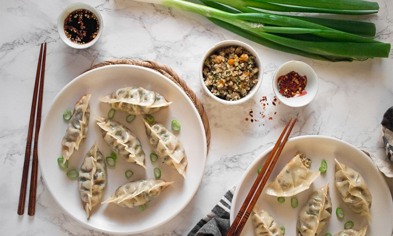 Vegan Gyozas with mushroom and quinoa real